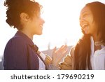 two sisters having fun around... | Shutterstock . vector #179690219