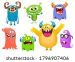 funny cartoon creatures. set of ... | Shutterstock .eps vector #1796907406