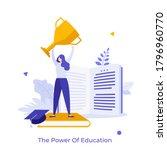 woman holding golden champion... | Shutterstock .eps vector #1796960770