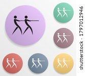 tug of war game badge color set ...