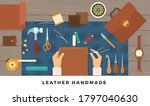 Workplace for handmade leather goods. Vector flat illustration. Table with tools and repairman hands