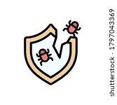 shield cyber attack bug icon....