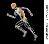 3d x ray running human with... | Shutterstock . vector #179706386