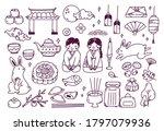 chuseok festival doodle set...   Shutterstock .eps vector #1797079936
