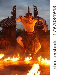 Small photo of BALI, INDONESIA - FEBRUARY 02, 2009: Kecak dance performance starring white-haired Hanuman. At its peak, Hanuman displayed his prowess in playing fireball.