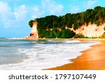 Small photo of Paradise beach of blue waters with low tide shooted on a sunny summer day in the northeast region of brazil. There is furthermore a cliff covered with plants.