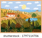 autumn panorama countryside... | Shutterstock .eps vector #1797114706