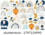 abstract doodles. baby animals... | Shutterstock .eps vector #1797124990