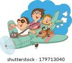 cartoon family  flying on an... | Shutterstock .eps vector #179713040