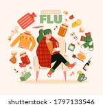 flu treatment poster with sick... | Shutterstock .eps vector #1797133546