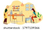 pottery hobby. handcrafted...   Shutterstock .eps vector #1797139366