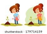 little cartoon girl watering a...   Shutterstock .eps vector #179714159