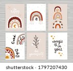 set of posters with boho... | Shutterstock .eps vector #1797207430