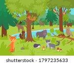 Animals In Forest Background....