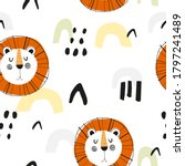 seamless pattern with cartoon... | Shutterstock .eps vector #1797241489