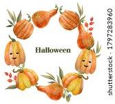 watercolor hand drawn halloween ...   Shutterstock . vector #1797283960