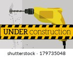 under construction over gray... | Shutterstock .eps vector #179735048