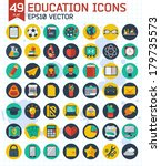 flat education and business... | Shutterstock .eps vector #179735573