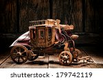 Antique reproduction miniature western stagecoach wagon artisan made craft wood toy crafted by old West frontier native American Indian craftsman