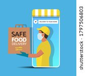 delivery man holding a bag with ... | Shutterstock .eps vector #1797506803