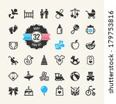 web icon set. baby  toys and... | Shutterstock .eps vector #179753816