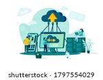 cloud computing concept in flat ... | Shutterstock .eps vector #1797554029