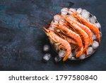 Red Argentine shrimps ocean jumbo shrimps copy space.