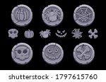 game stone coin. set cartoon...
