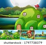 four different scene of fantasy ... | Shutterstock .eps vector #1797738379