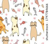 cute cat and fish vector... | Shutterstock .eps vector #1797784666