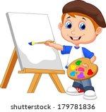 cartoon boy painting   Shutterstock .eps vector #179781836