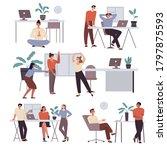 set of scenes  office workers...   Shutterstock .eps vector #1797875593