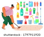 cleaning at home. cartoon woman ...   Shutterstock .eps vector #1797911920