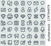 flat icons set. simple line...