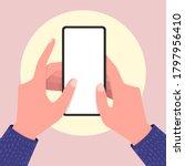 holding empty screen mobile... | Shutterstock .eps vector #1797956410