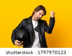 Man With A Motorcycle Helmet...