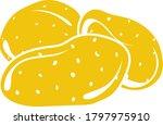 potato icon. flat color design. ...