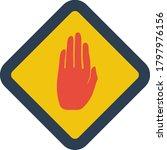 icon of warning hand. flat...