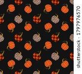 various pumpkins on a dark... | Shutterstock .eps vector #1797976570