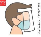 face shield mask color line...   Shutterstock .eps vector #1798001776