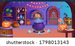 happy halloween. interior of... | Shutterstock .eps vector #1798013143