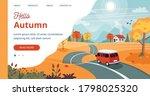Autumn Trip Template. Vector...