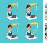 woman is making order online.... | Shutterstock . vector #1798027153