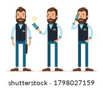 stylish young man with phone.... | Shutterstock . vector #1798027159