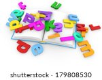 open book and colored letters... | Shutterstock . vector #179808530