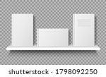book on shelf mockup. white... | Shutterstock .eps vector #1798092250