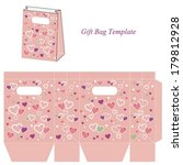 pink gift bag template with... | Shutterstock .eps vector #179812928