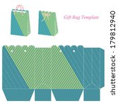 green gift bag template with... | Shutterstock .eps vector #179812940