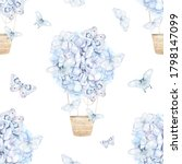 Watercolor Pattern With Blue...