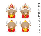 set of cute little ox  happy... | Shutterstock .eps vector #1798161229